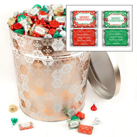 Personalized Shining Snowflakes 20 lb Merry Christmas Hershey's Mix Tin