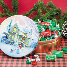 Personalized Hershey's Happy Holidays Mix All Decked Out Tin - 2 lb