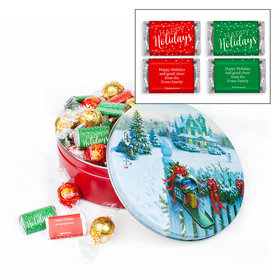 Personalized Christmas Mail Happy Holidays 1.8lb Tin Personalized Hershey's Miniatures & Lindt Truffles