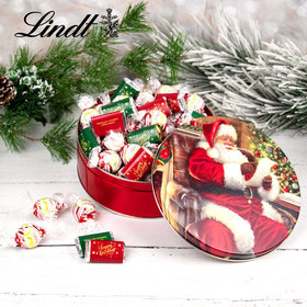 Checking It Twice Christmas Happy Holidays 1.8lb Tin Hershey's Miniatures & Peppermint Lindt Truffles