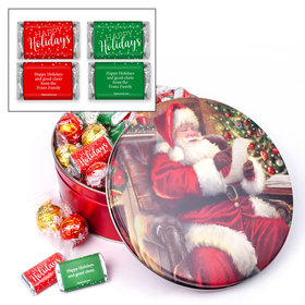 Checking It Twice Christmas Happy Holidays 1.8lb Tin Personalized Hershey's Miniatures & Lindt Truffles