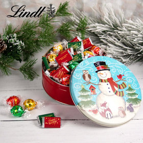 Forest Friends Happy Holidays 1.8lb Tin Hershey's Miniatures & Lindt Truffles