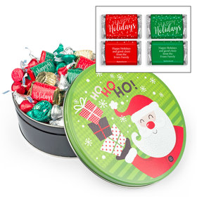 Personalized Santa with Gifts 2 lb Happy Holidays Hershey's Mix Tin