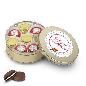 Happy Holidays Gold Tin with 16 Chocolate Covered Oreo Cookies