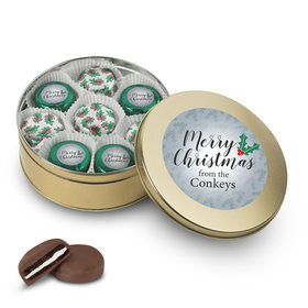 Personalized Merry Christmas Gold Holly Tin with 16 Chocolate Covered Oreo Cookies