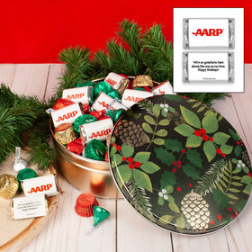Personalized Golden Pinecones 2 lb Add Your Logo Hershey's Mix Tin