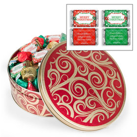 Personalized Golden Swirls 2 lb Merry Christmas Hershey's Mix Tin
