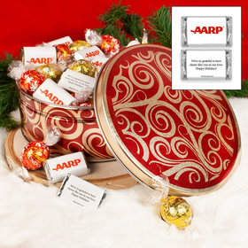 Golden Swirls Christmas Add Your Logo 1.8lb Tin Personalized Hershey's Miniatures & Lindt Truffles