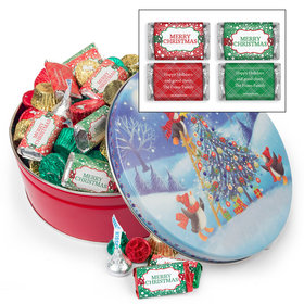 Personalized Penguin Tree 2 lb Merry Christmas Hershey's Mix Tin