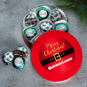 Personalized Add Your Logo' Red Holly Tin with 16 Chocolate Covered Oreo Cookies