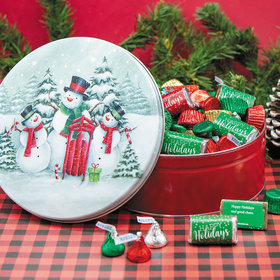 Personalized Hershey's Happy Holidays Snow Family Gift Tin - 2 lb