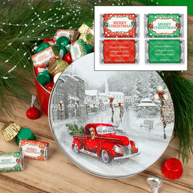 Personalized Snowy Drive 2 lb Merry Christmas Hershey's Mix Tin