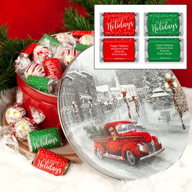 Snowy Drive Christmas Happy Holidays 1.8lb Tin Personalized Hershey's Miniatures & Lindt Truffles