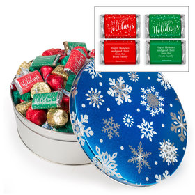 Personalized Blue Flurries 3lb Happy Holidays Hershey's Mix Tin