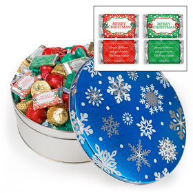 Personalized Blue Flurries 3lb Merry Christmas Hershey's Mix Tin