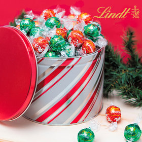 Candy Stripes 3lb Tin with Lindor Truffles by Lindt (Approx 90pcs)