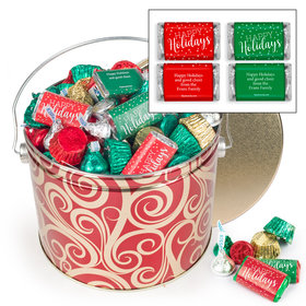Personalized Golden Swirls 3.5 lb Happy Holidays Hershey's Mix Tin