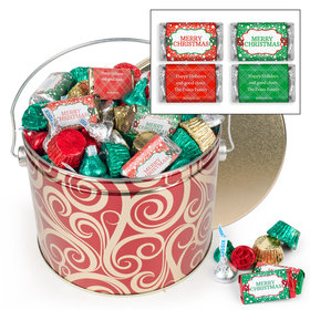 Personalized Golden Swirls 3.5 lb Merry Christmas Hershey's Mix Tin