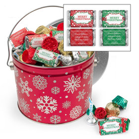Personalized Red Snowflake 3.5 lb Merry Christmas Hershey's Mix Tin