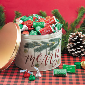 Personalized Very Merry 3.5 lb Happy Holidays Hershey's Mix Tin