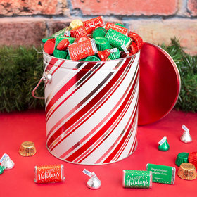 Personalized Hershey's Happy Holidays Mix Candy Stripes Tin - 5 lb