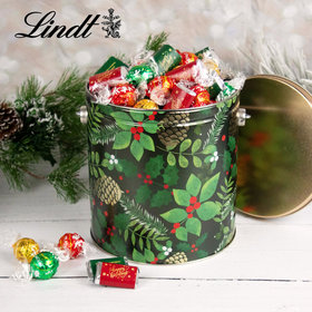 Golden Pinecones Happy Holidays 4.6lb Tin Hershey's Miniatures & Lindt Truffles