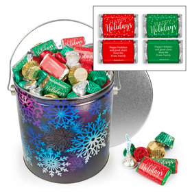 Personalized Spectral Snowflake 5 lb Happy Holidays Hershey's Mix Tin