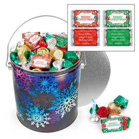 Personalized Spectral Snowflake 5 lb Merry Christmas Hershey's Mix Tin