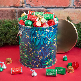 Personalized Hershey's Happy Holidays Mix Touch of Gold Tin - 5 lb