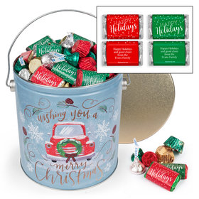 Personalized Vintage Christmas 5 lb Happy Holidays Hershey's Mix Tin