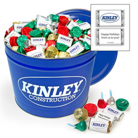 Digitally Printed Add Your Logo 10lb Tin - Hershey's Holiday Assortment