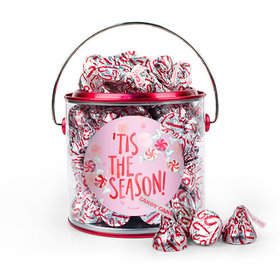 Christmas 'Tis the Season Paint Can with Sticker - 1lb Peppermint Hershey's Kisses