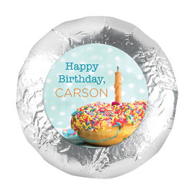 "Personalized Birthday Donut Worry Be Happy 1.25"" Sticker (48 Stickers)"