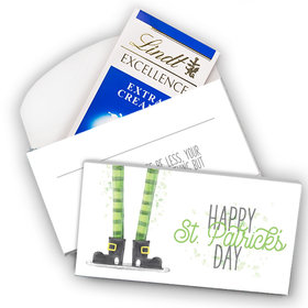 Deluxe Personalized St. Patrick's Day Lucky Feet Lindt Chocolate Bar in Gift Box (3.5oz)