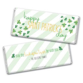 Personalized St. Patrick's Day Floating Clovers Chocolate Bar Wrappers