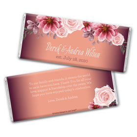 Personalized Wedding Blushing Burgundy Chocolate Bar Wrappers