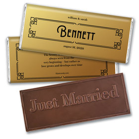 Personalized Wedding Love is Golden Embossed Chocolate Bar & Wrapper