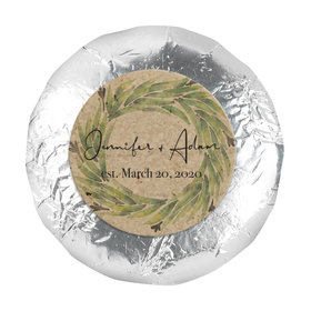 "Personalized Wedding Sage Wreath 1.25"" Stickers (48 Stickers)"