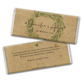 Personalized Wedding Sage Wreath Chocolate Bar Wrappers