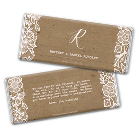 Personalized Wedding Floral Lace Chocolate Bar & Wrapper