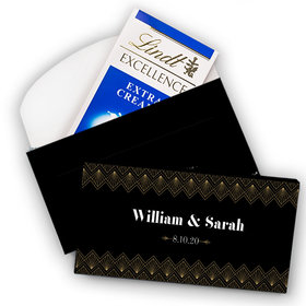 Deluxe Personalized Wedding Lace & Love Lindt Chocolate Bar in Gift Box (3.5oz)