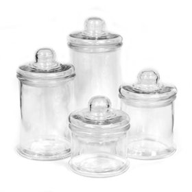 4 Pc. Round Glass Canister Set with Ball Lid