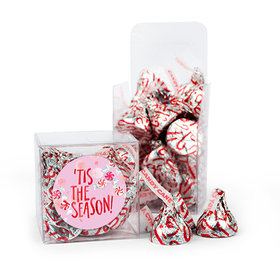 Christmas 'Tis the Season Peppermint Hershey's Kisses Clear Box