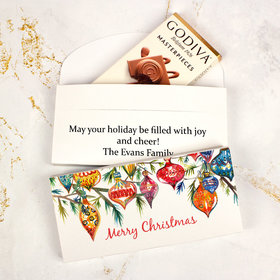 Deluxe Personalized Christmas Ornaments Godiva Chocolate Bar in Gift Box