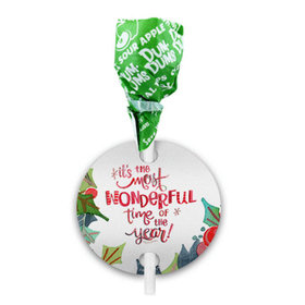Personalized Christmas Wonderful Time Dum Dums with Gift Tag (75 pops)