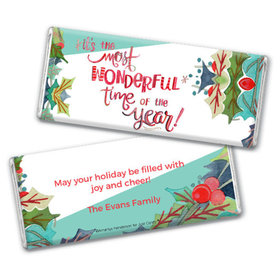 Personalized Christmas Wonderful Time Chocolate Bar & Wrapper