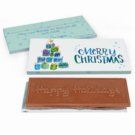 Deluxe Personalized Christmas Tree Presents Chocolate Bar in Gift Box