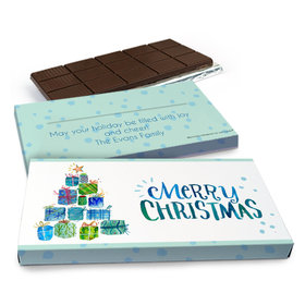 Deluxe Personalized Christmas Tree Presents Chocolate Bar in Gift Box (3oz Bar)