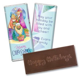 Personalized Christmas Wise Men Embossed Chocolate Bar