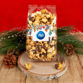 Personalized Christmas Ornaments Add Your Logo Chocolate Caramel Sea Salt Gourmet Popcorn 8 oz Bags